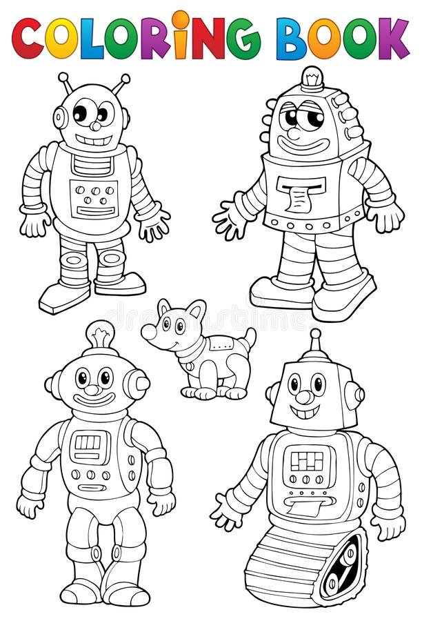 Coloring book with various robots stock illustration