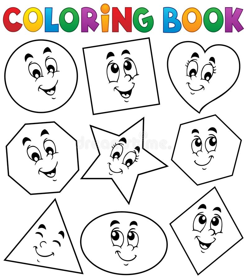 Download coloring book various shapes 1 stock vector illustration of heart face 46753879