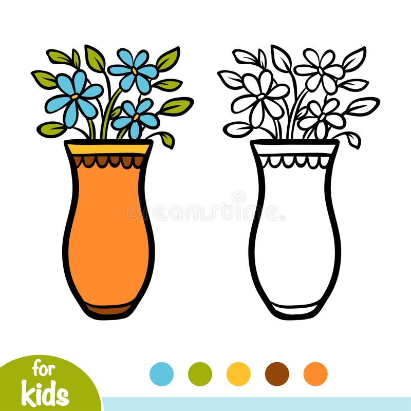 Download Coloring Book Vase And Flowers Stock Vector