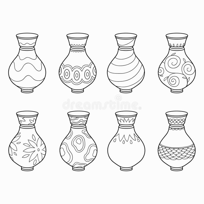 Free Coloring Book (vases) Stock Image - 51776761