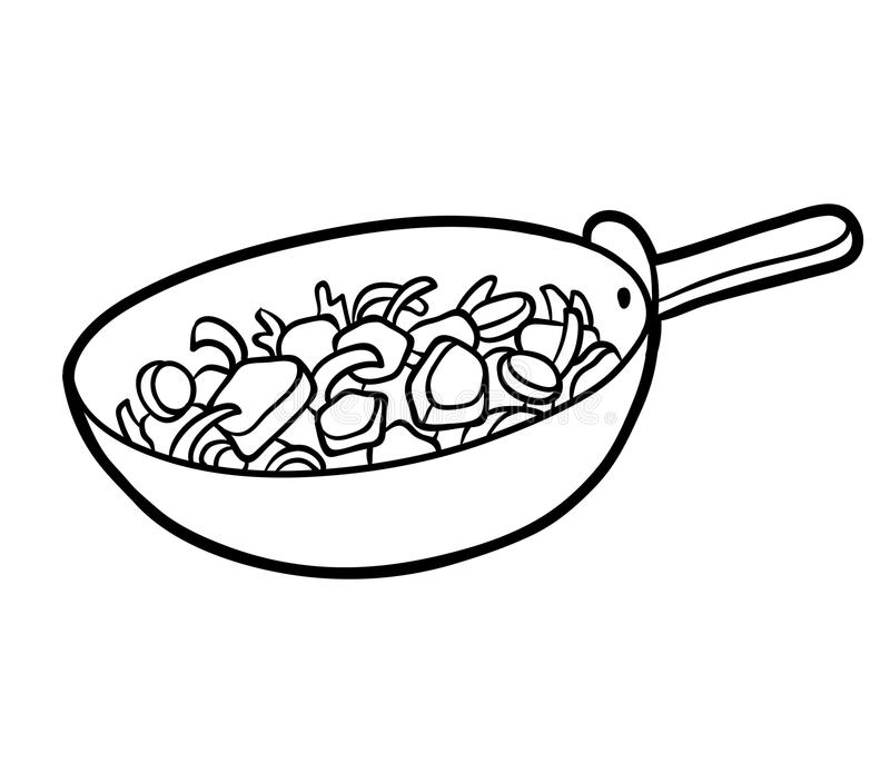 Coloring book, Vegetables in a frying pan. Coloring book for children, Vegetables in a frying pan royalty free illustration