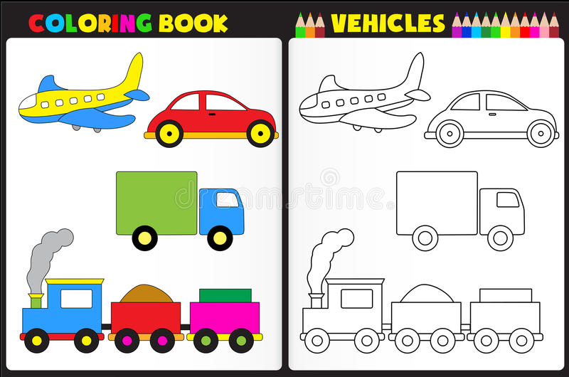 Coloring book vehicles royalty free illustration