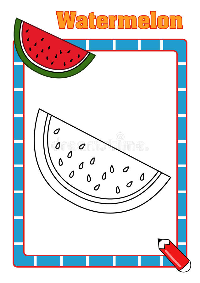 Coloring book, watermelon royalty free stock images
