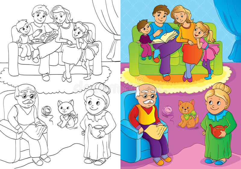Coloring Book Of Whole Family Is At Home royalty free illustration