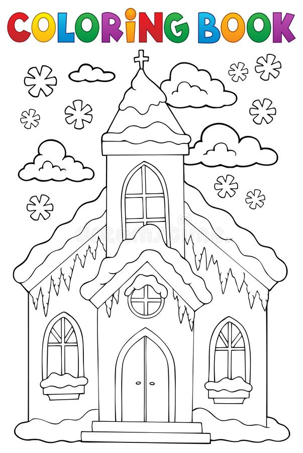 Free Coloring Book Winter Church Building 1 Royalty Free Stock Photos - 130750598
