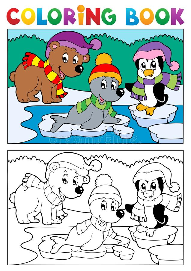 Coloring book winter topic 5 royalty free illustration