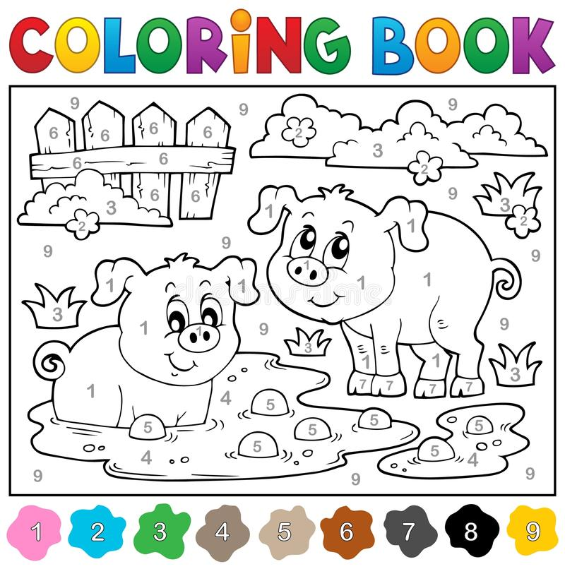 Free Coloring Book With Two Happy Pigs Royalty Free Stock Image - 53981976