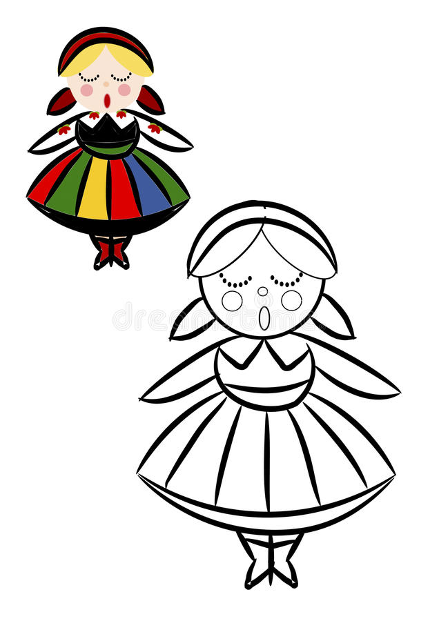 Coloring book with women in Polish National ethnic. Costume - illustration stock illustration