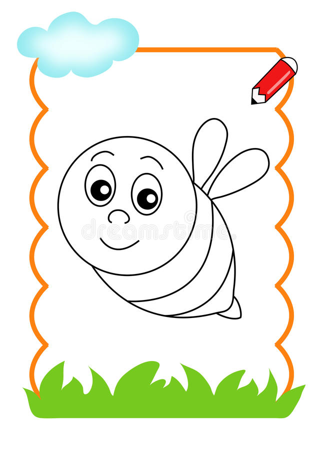 Coloring book of the wood, bee stock image