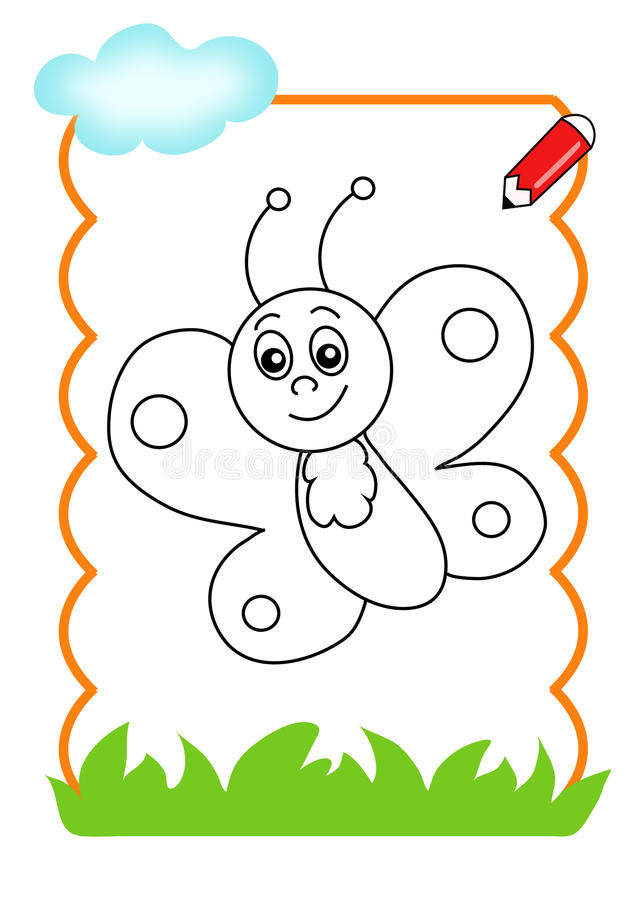 Coloring book of the wood, butterfly royalty free stock image