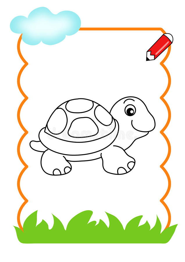 Coloring book of the wood, turtle stock photo