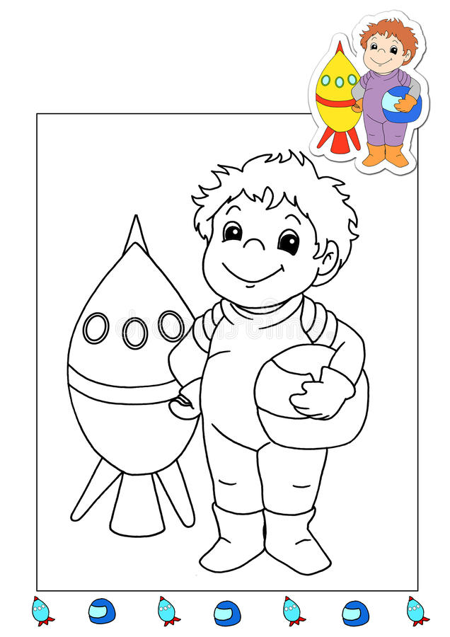 Download Coloring Book Of The Works 1 - Astronaut Stock Photo - Image: 14782740