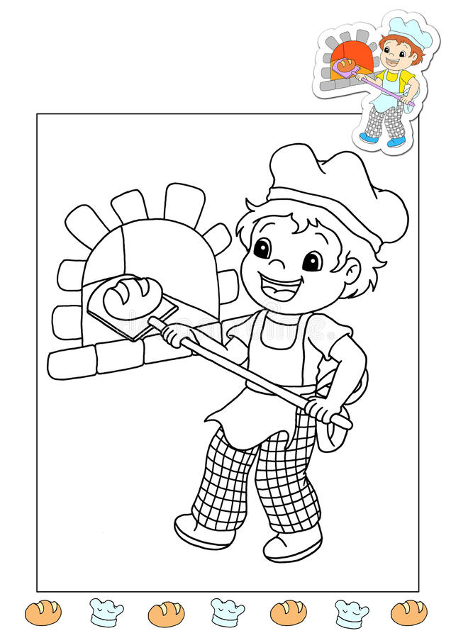 Coloring book of the works 10 - the bread's man stock photos