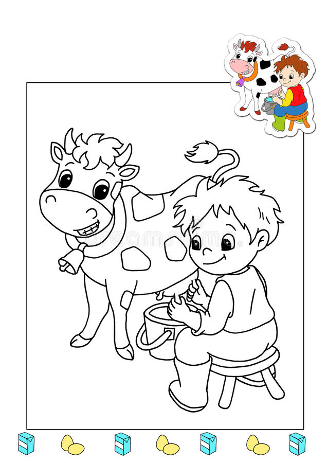 Coloring book of the works 12 - agriculturist royalty free stock images