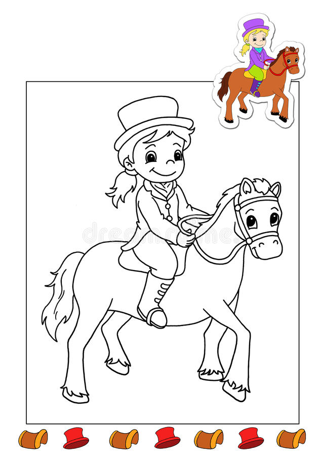 Download Coloring Book Of The Works 17 - Horsewoman Stock Illustration - Image: 15020813