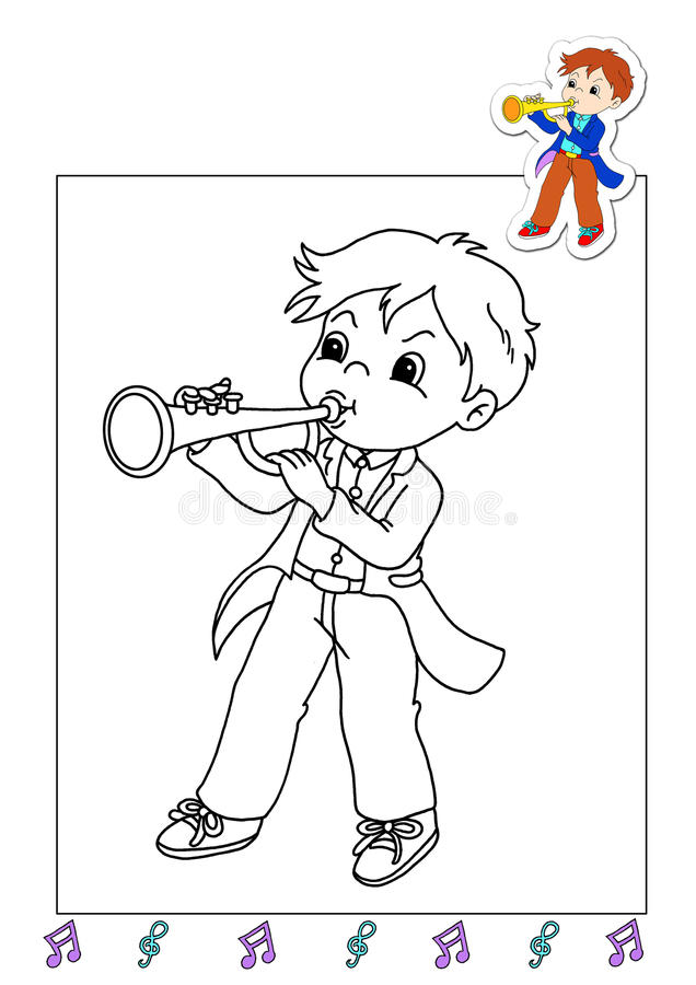 Coloring book of the works 25 - musician royalty free stock photography