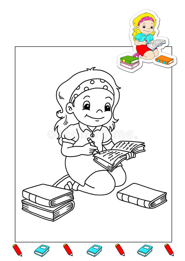 Coloring book of the works 28 - writer royalty free stock images