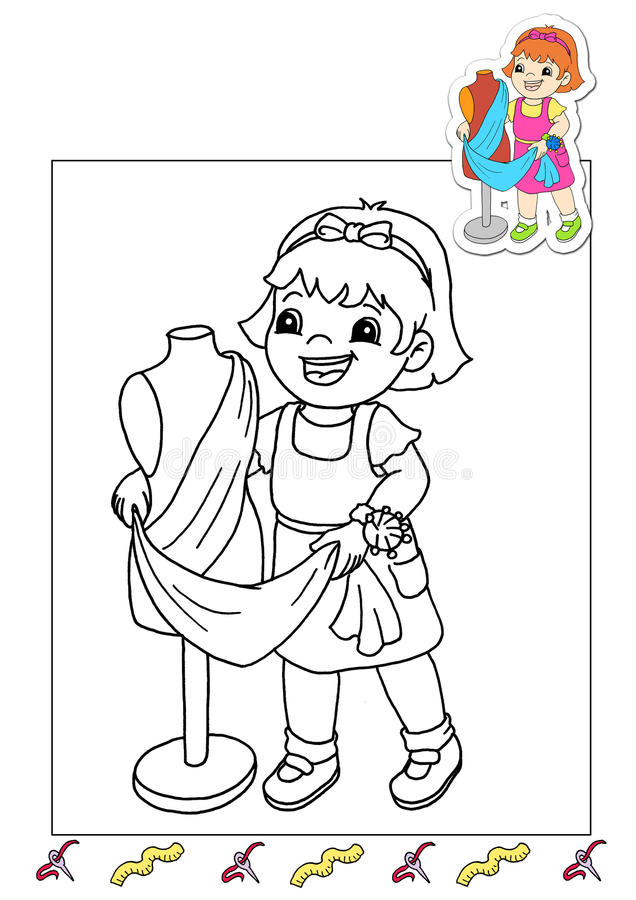 Coloring book of the works 30 - tailor stock photo