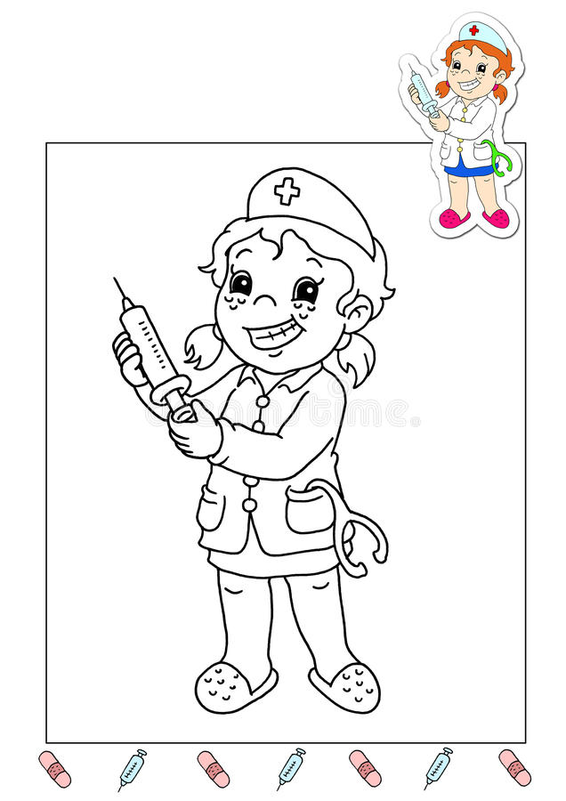 Download Coloring Book Of The Works 32 - Nurse Stock Photo - Image: 15159160