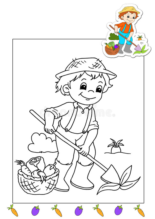 Coloring book of the works 33 - farmer stock photos