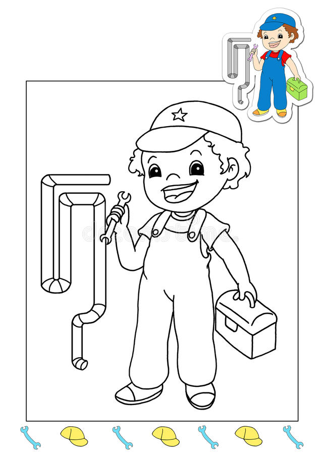 Coloring book of the works 34 - hydraulic royalty free stock image
