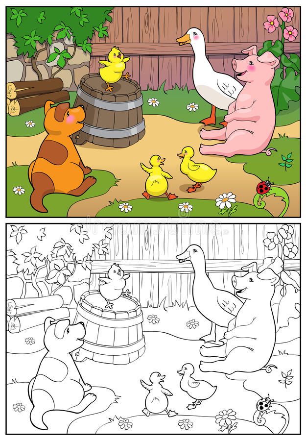 Coloring book. A yellow chicken cheers ducks and puppy. stock illustration