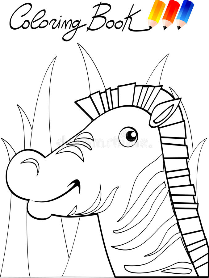 Coloring book, zebra stock illustration. Illustration of animal ...