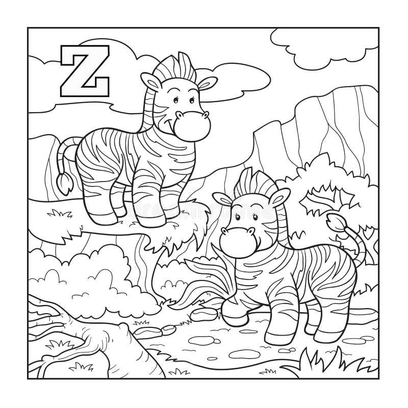 Coloring book (zebra), colorless alphabet for children: letter Z vector illustration