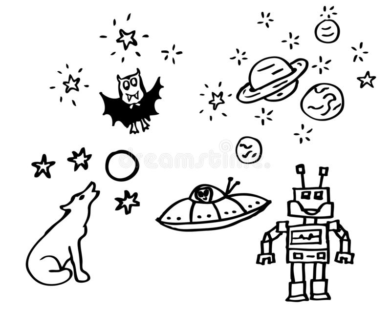 Coloring book - drawings about night and space with a vampire and a robot for kids also available as a vector drawing stock illustration