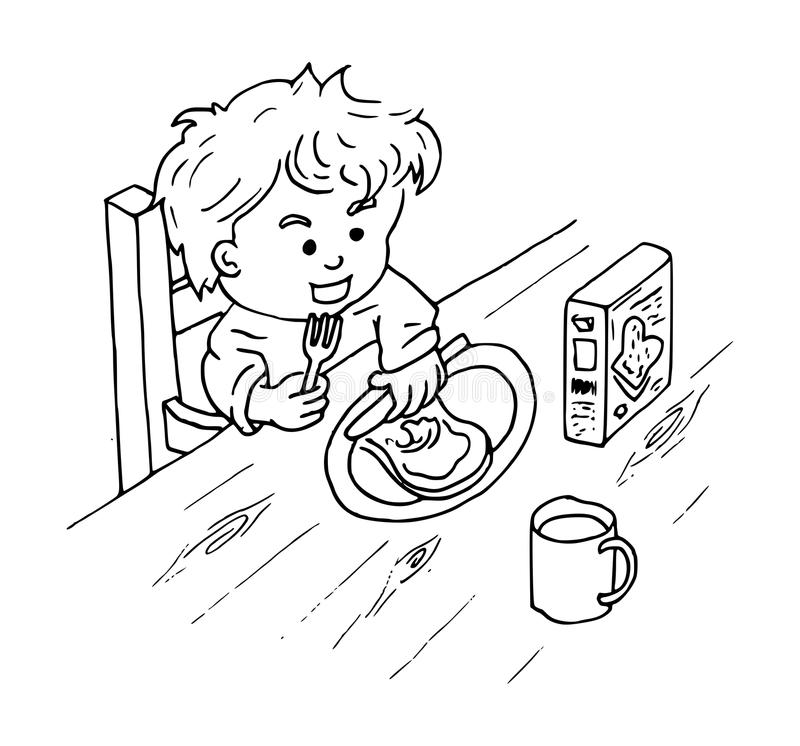Coloring Of A Boy Eating A Sandwich With Peanut Butter