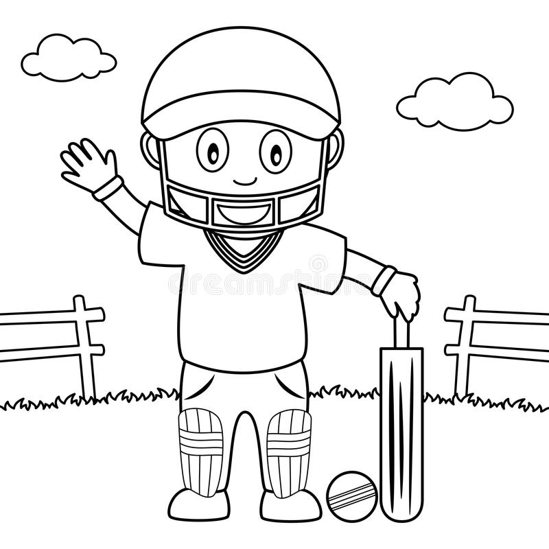 coloring boy playing cricket park illustration kids cute isolated white background eps file available 84324447