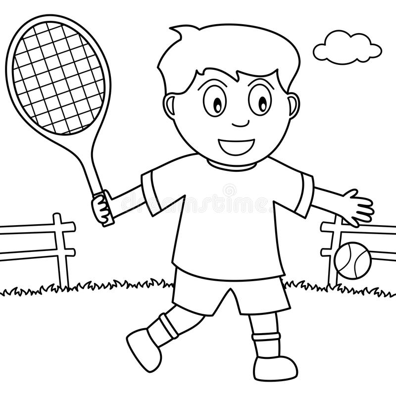 Coloring Boy Playing Tennis In The Park Stock Vector - Illustration ...