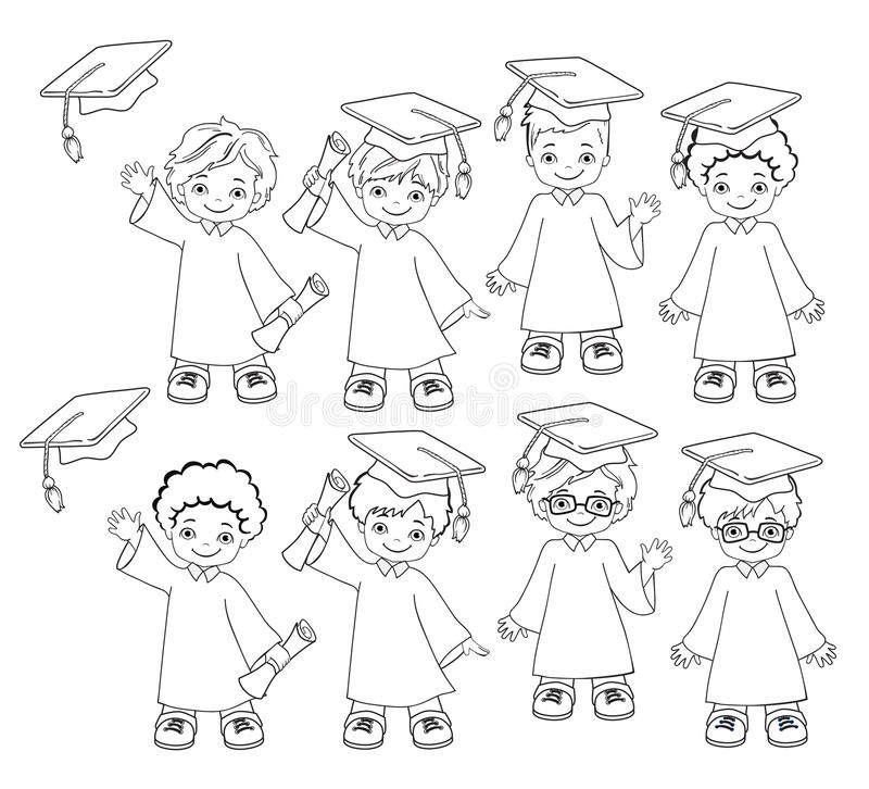 Coloring. Boys. Set Of Children In A Graduation Gown And Mortarboard ...