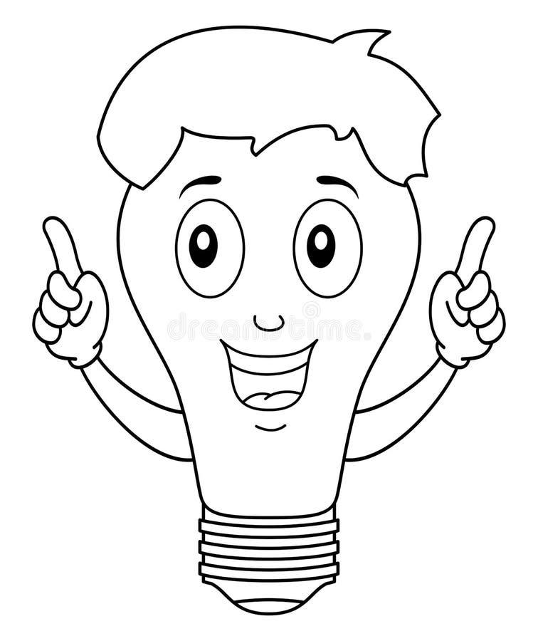 Coloring Brilliant Light Bulb Character vector illustration