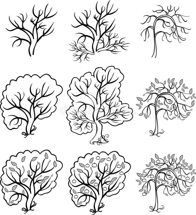Download Coloring Bush And Trees An Apple Tree Vector Illustration Stock