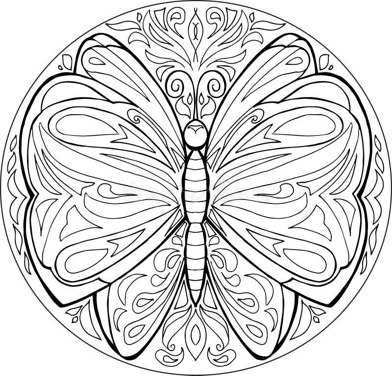 coloring butterfly mandala vector stock vector