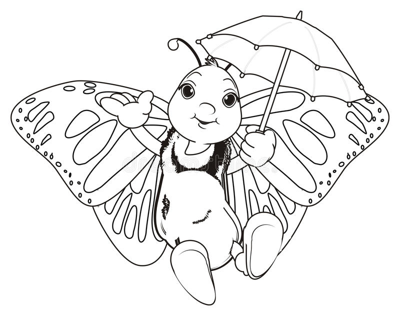 Coloring butterfly with umbrella vector illustration