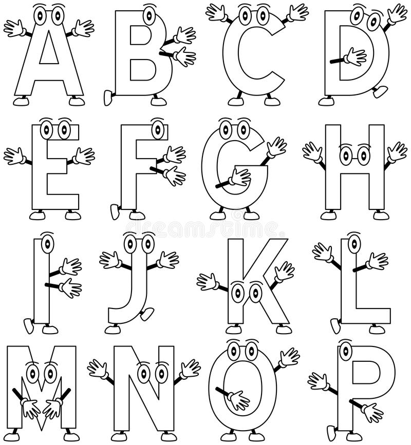Coloring Cartoon Alphabet [1]. Funny cartoon alphabet – part 1, black and white version. Useful also for educational, preschool or colouring books for royalty free illustration