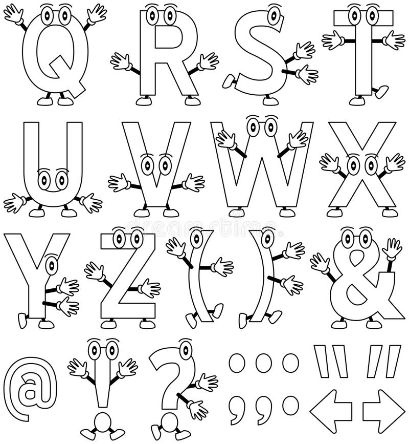Coloring Cartoon Alphabet [2]. Funny cartoon alphabet – part 2, black and white version. Useful also for educational, preschool or colouring books for