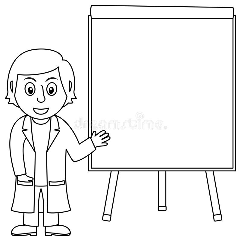 Coloring Cartoon Female Doctor for Kids royalty free illustration