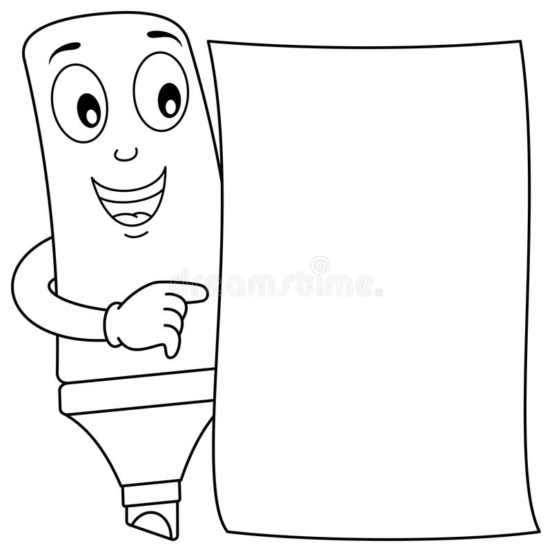 download coloring cartoon highlighter blank paper stock vector image 85536369 - Coloring Book Paper Stock