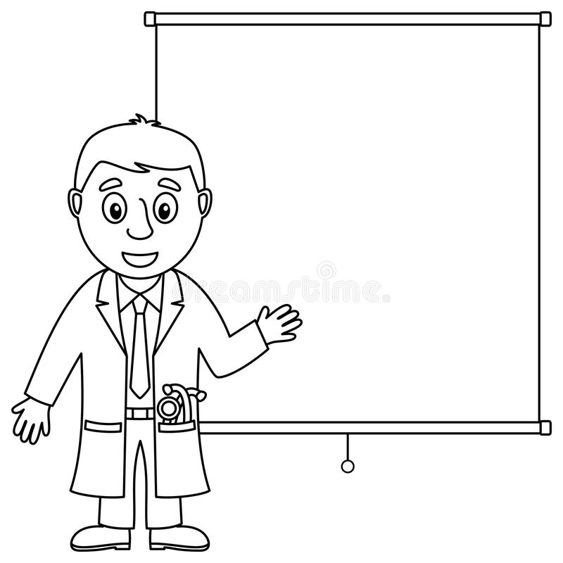 Coloring Cartoon Male Doctor for Kids stock illustration