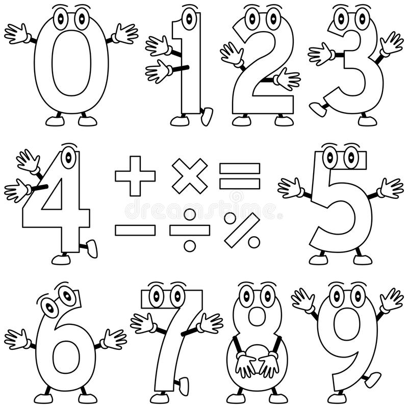 Coloring Cartoon Numbers. Funny cartoon numbers, black and white version. Useful also for educational, preschool or colouring books for kids. In my portfolio you royalty free illustration