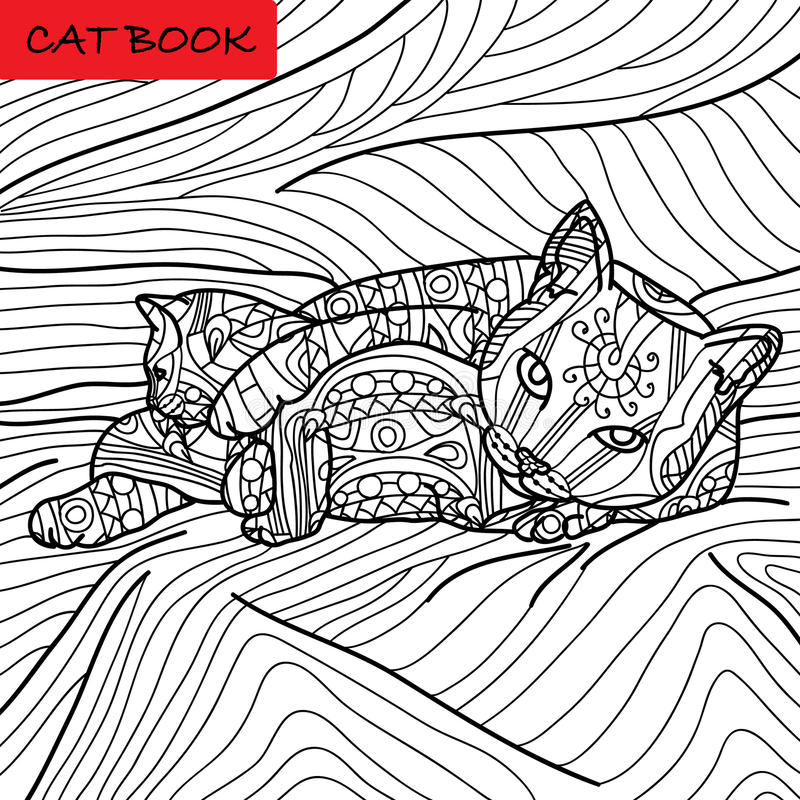 Coloring cat page for adults. Cat mom playing with her baby kitten. Hand drawn illustration with patterns. Zenart, dot to dot games vector illustration