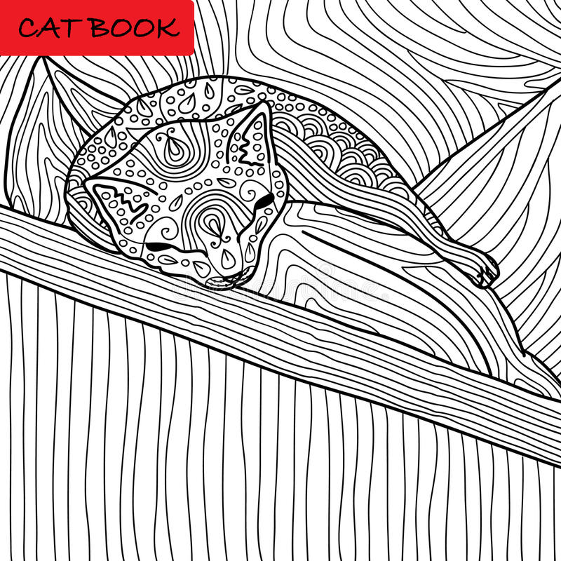 Coloring cat page for adults. Funny baby kitten sleeping on the pillow. Hand drawn illustration with patterns. Zenart royalty free illustration