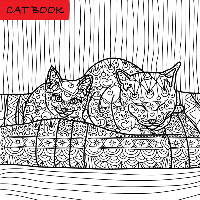 Coloring cat page for adults. Mama cat and her baby kitten sitting on sofa. Hand drawn illustration with patterns. Zenart vector illustration