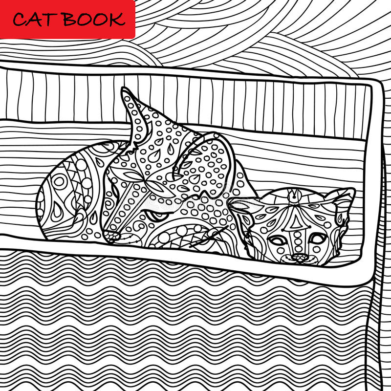 Coloring cat page for adults. Mama cat and her kitten sitting in a box. Hand drawn illustration with patterns. Zenart stock illustration