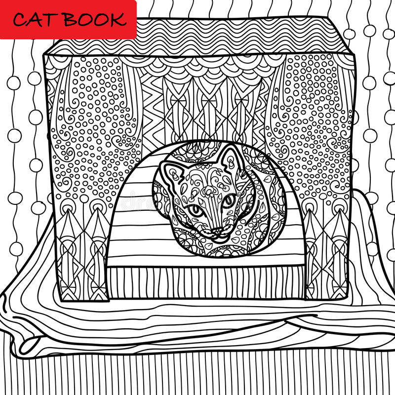 Coloring cat page for adults. Serious cat sits in his cat house. Hand drawn illustration with patterns. Zenart stock illustration