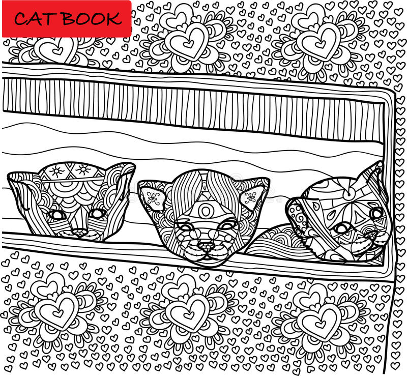 Coloring cat page for adults. Three newly born kitten peeking out of box. Hand drawn illustration with patterns. Zenart vector illustration