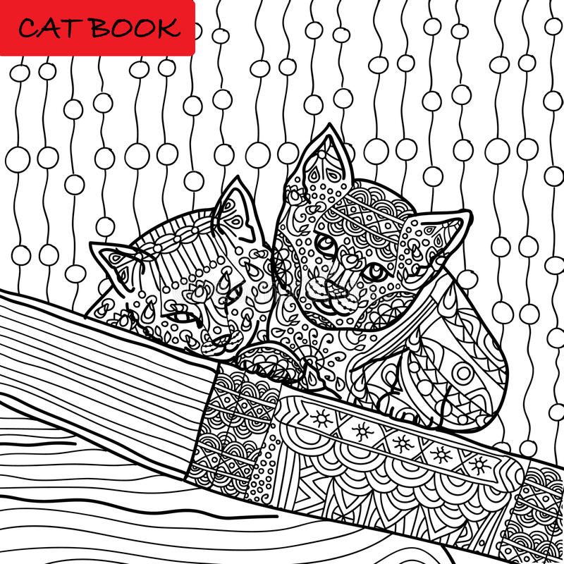 Coloring cat page for adults. Two funny kitten sitting on book. Hand drawn illustration with patterns. Zenart, dot to dot games royalty free illustration
